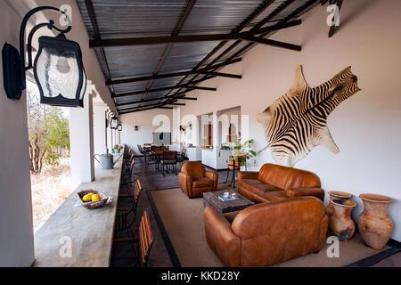 Rezeption tamboti Luxus Campingplatz, onguma Game Reserve, Namibia, Afrika - Stockfoto