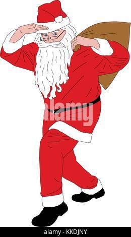 Santa claus Tasche voller Geschenke-Vektor - Stockfoto