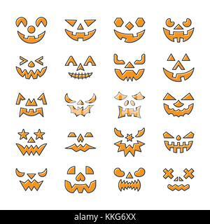 Halloween Gesicht gesetzt. Flaches Design Symbol Leitung mit Vertriebenen füllen. Farbe logo Konzept für Web, Infografik, Drucken, Karte, Büro, Geschäft, Baner, st Stockfoto