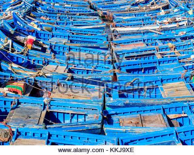 Marokko, Marrakesh-Safi (Marrakesh-Tensift-El Haouz) Region, Essaouira. Boote im Hafen. - Stockfoto