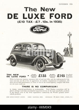 1934 UK Magazin De Luxe Ford Auto Anzeige - Stockfoto