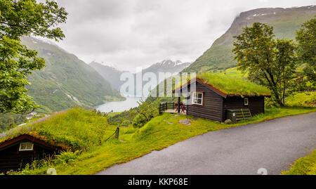 Lokale Häuser mit sod Dächer - gerainger, Norwegen - Stockfoto