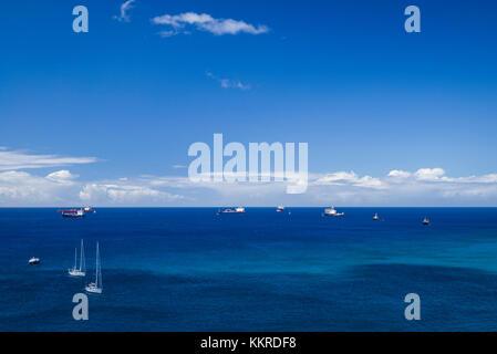 Niederlande, Sint Eustatius, Oranjestad oranjestad Bay, Erhöhte Ansicht