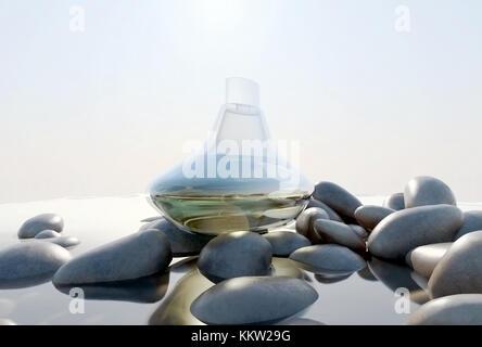 Parfüm Flasche auf den Felsen am Strand. - Stockfoto
