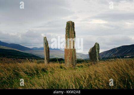 Machrie Moor prähistorischen Steinkreise. Isle of Arran, Schottland. 4000+ Jahr megalithischen Kultstätte. Kreis - Stockfoto