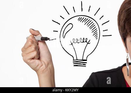 Hand schreiben eine Lampe - Idee, Konzept - Stockfoto