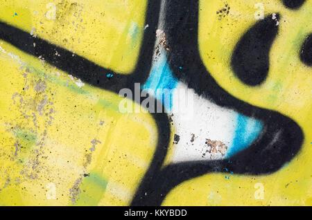 Abstrakte farbenfrohe Graffiti Fragment, alten städtischen Beton wand Textur - Stockfoto