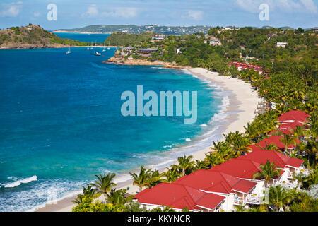 Der schöne Strand von Galley Bay Resort in Antigua. - Stockfoto