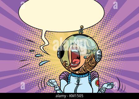 Lustige wütende Frau Astronaut - Stockfoto