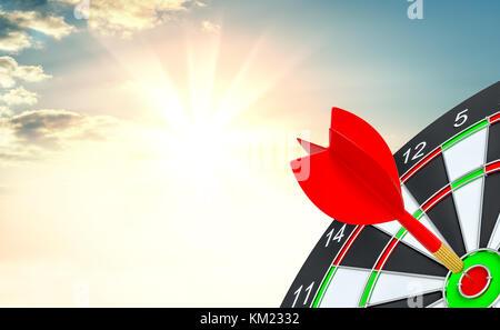 Target Dart mit Pfeil. 3D-Darstellung - Stockfoto
