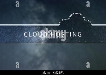 Wort Wolke CLOUD HOSTING Konzept. Raum Hintergrund. - Stockfoto