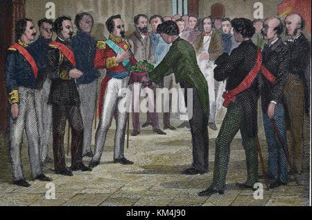Baldomero Espartero (1793-1879). spanischen General und Politiker und regentin von Spanien. Barcelona bietet eine - Stockfoto