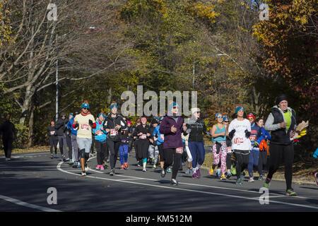 Läufer in Prospect Park an der beliebte jährliche Thanksgiving Morgen' Türkei Trab 5 Meile laufen in Brooklyn, New York.