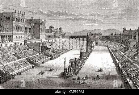 Ein wagenrennen im alten Rom. Von Station und Lock's illustrierte Geschichte der Welt, veröffentlicht C 1882. - Stockfoto