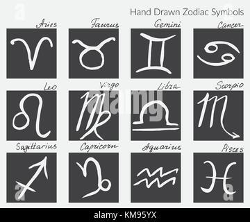 satz von zeichen des tierkreises symbole handgemachte gezeichneten elemente mit trockenem. Black Bedroom Furniture Sets. Home Design Ideas