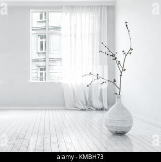 3d rendering eine leere gro e offene loft oder eigentumswohnung wohnzimmer mit panorama fenstern. Black Bedroom Furniture Sets. Home Design Ideas