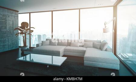 https://l450v.alamy.com/450vde/kmbh7m/leere-geraumiges-wohnzimmer-mit-modularen-sofa-lampe-tisch-und-grosse-anlage-3d-rendering-kmbh7m.jpg