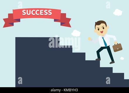 Unternehmer trägt ein weißes Hemd und er die Silhouette Treppen führen zum Erfolg red ribbon Mitarbeiter klettert - Stockfoto