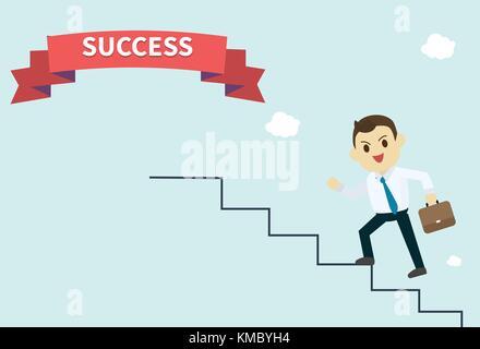 Unternehmer trägt ein weißes Hemd und er laufen die Treppen hoch zum Erfolg red ribbon Mitarbeiter klettert die - Stockfoto