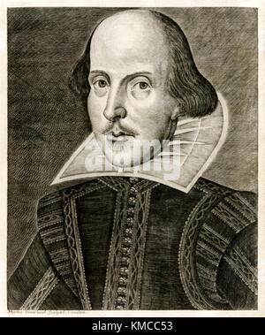 William Shakespeare (1564-1616) aus dem Titel 'Mr William Shakespeares Komödien, Geschichten und Tragödien' veröffentlichte - Stockfoto