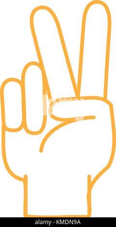Color Line Hand mit Frieden und Liebe Geste Symbol - Stockfoto