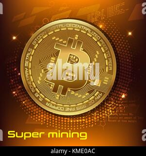 Cryptocurrency Konzept. Vorlage Werbebanner. golden Bitcoin digitale Währung, Text super Bergbau. Vector Illustration - Stockfoto