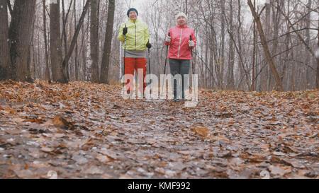 Fitness für ältere Frauen im Herbst Park - Nordic Walking unter Herbst Park - Stockfoto