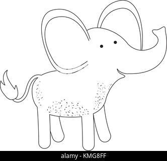 Elefant Cartoon in Schwarzweiß Silhouette auf weißem Hintergrund - Stockfoto