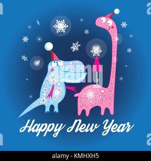 Weihnachtskarte mit Dinosauriern und Weihnachtsbäume auf einem dunklen Hintergrund - Stockfoto