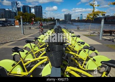 Ecobici Bike Sharing Station, Puerto Madero, Buenos Aires, Argentinien, Südamerika - Stockfoto