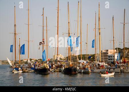 Hafen von Mahón. Menorca. Balearen. Spanien. - Stockfoto