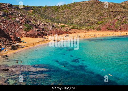 Cala Pilar Beach. Ciutadella de Menorca Gemeinde. Menorca. Balearen. Spanien - Stockfoto
