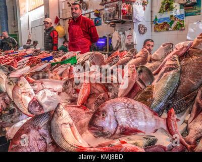 Marokko, Tanger, am Fischmarkt, in Tanger. Stockfoto