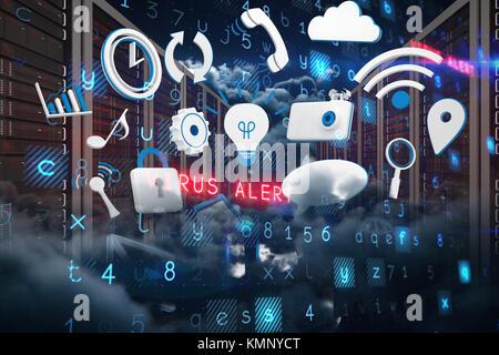 Virus Hintergrund malerischen Blick auf bedeckt in der Nacht - Stockfoto