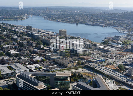 Blick auf den Central Seattle von der Space Needle. - Stockfoto
