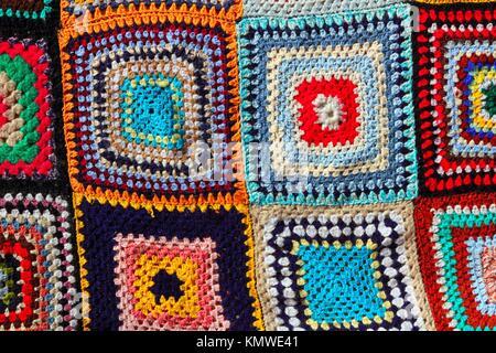 Patchwork bunte Muster Handwerk Stoff Decke häkeln Stockfoto, Bild ...