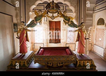 Der Palast in Meherangarh Fort in der schönen Stadt Jodhpur in Rajasthan in Indien - Stockfoto