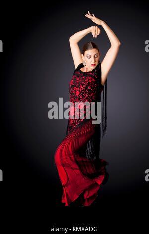 Schönen weiblichen Spanischen Flamenco Tänzerin eine typische Zeile darstellen, tragen moderne Kleidung Spanische - Stockfoto