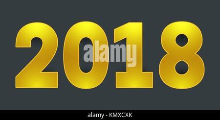 2018 Frohes neues Jahr. golden glänzende Zahlen auf grauem Hintergrund. - Stockfoto