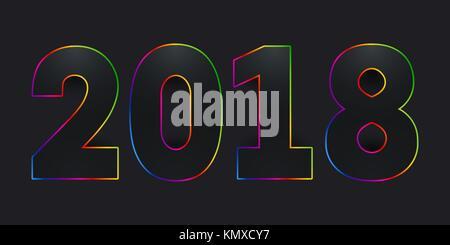 2018 Frohes neues Jahr. schwarze Zahlen mit bunten Farbverlauf Strich auf schwarzem Hintergrund. - Stockfoto