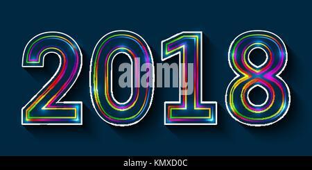 2018 Frohes neues Jahr. multicolor Umrisse Nummern mit glühenden Effekt auf blauem Hintergrund. - Stockfoto