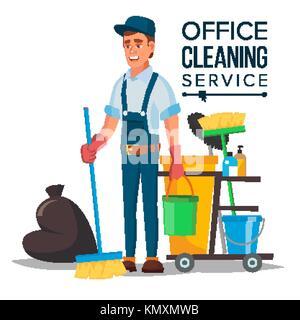 professional office cleaner vektor hausmeister mit. Black Bedroom Furniture Sets. Home Design Ideas