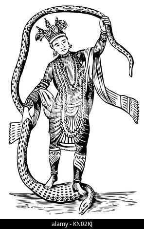 Alte Abbildung von Vishnu in der 8 Avatar Live Vektor aus der Geschichte der alten Damen und Herren Brüderlichkeit - Stockfoto