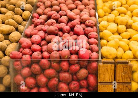 Vielzahl von Kartoffeln in Lebensmittelmarkt bin - Stockfoto