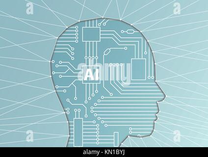Künstliche Intelligenz/ai Konzept. vector Abbildung: Gesicht Silhouette mit computer Prozessor als künstliches Gehirn - Stockfoto