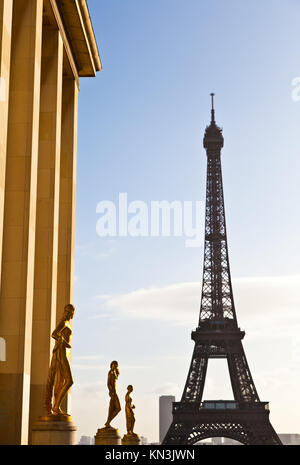 Der beste Platz in Paris eine wunderbare Aussicht auf den Eiffelturm: Trocadero Terrasse zu haben. - Stockfoto