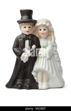 Alten putz Braut und Bräutigam cake Topper auf weißem Hintergrund. - Stockfoto