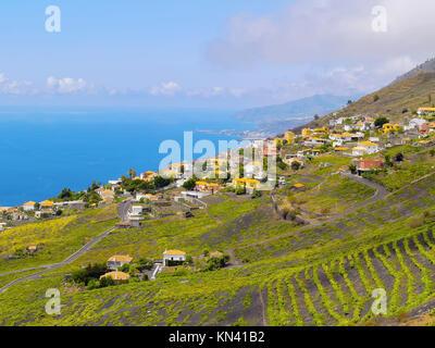 Landschaft der Insel La Plama von Vulkan San Antonio in Fuencaliente de La Palma, Kanarische Inseln, Spanien. - Stockfoto