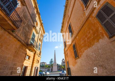 Ciutadella Menorca Plaça des Born in der Innenstadt von Ciutadella, Balearen. - Stockfoto