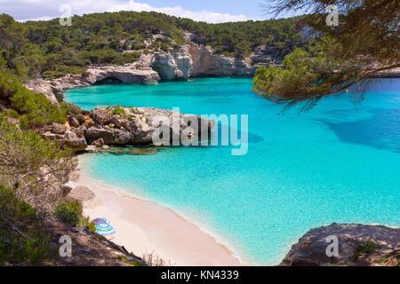Cala Mitjaneta in Menorca Ciutadella, Balearen. - Stockfoto